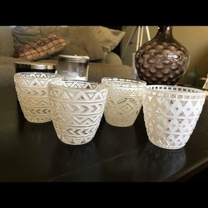 Votive White Etched Candle Holders (4)